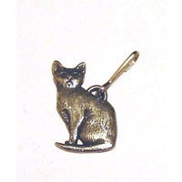 Short Haired Haired Cat Zipper Pull Pewter Pet Gift