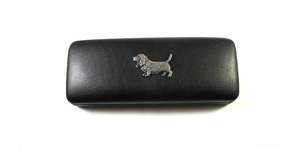Basset Hound Pewter Motif on Black Faux Leather Glasses Case