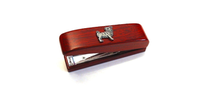 Pug Dog Motif on Rosewood Stapler Stationary Gift