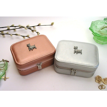 Westie Terrier Design Rose Gold or Silver Travel Jewellery Box