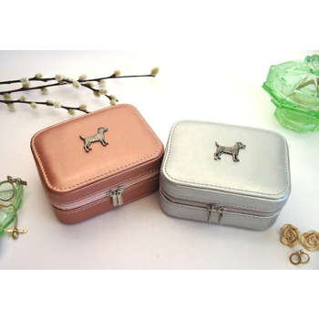 Patterdale Terrier Design Rose Gold/Silver Travel Jewellery Box