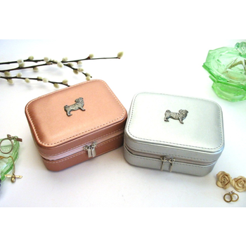 Pug Dog Design Rose Gold or Silver Travel Jewellery Box Gift