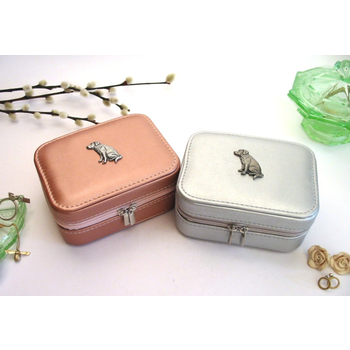 Labrador Retriever Design Rose Gold/Silver Travel Jewellery Box