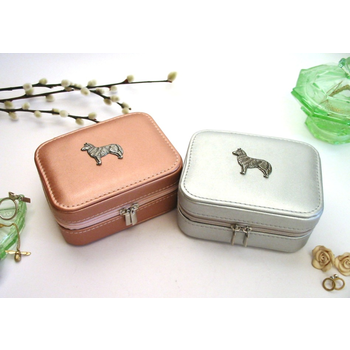 Husky Design Rose Gold or Silver Travel Jewellery Box Gift