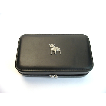 Staffordshire Terrier Design Large Black Travel Jewellery Box