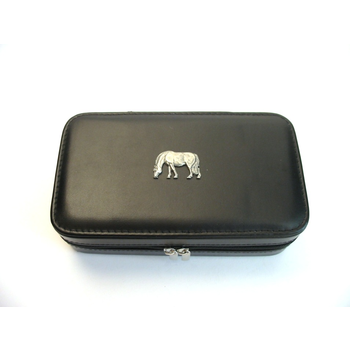 Grazing Pony Design Large Black Travel Jewellery Box Useful Gift
