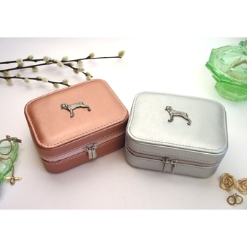 Weimaraner Design Rose Gold or Silver Travel Jewellery Box Gift