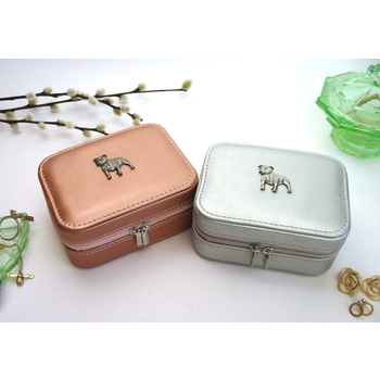 Staffie Bull Terrier Motif Rose Gold/Silver Travel Jewellery Box