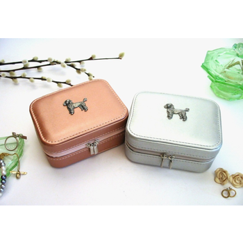 Poodle Design Rose Gold or Silver Travel Jewellery Box Gift