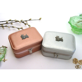 Scottish Terrier Design Rose Gold/Silver Travel Jewellery Box