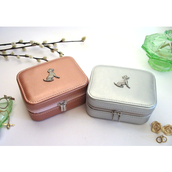 Jack Russell Design Rose Gold or Silver Travel Jewellery Box