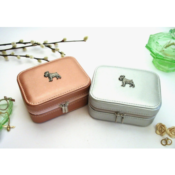 Schnauzer Design Rose Gold or Silver Travel Jewellery Box Gift