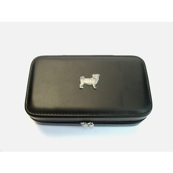 Pug Dog Design Large Black Travel Jewellery Box Useful Gift