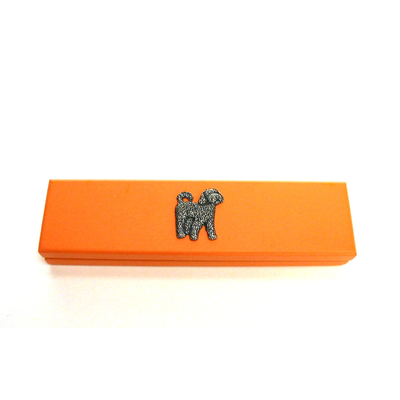 Cockapoo Dog Motif on Apricot Wooden Pen Box with 2 Pens