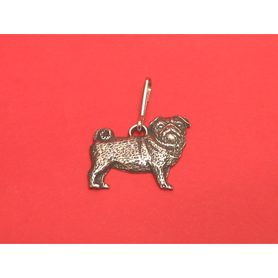 Pug Dog Zipper Pull Pewter Pet Gift