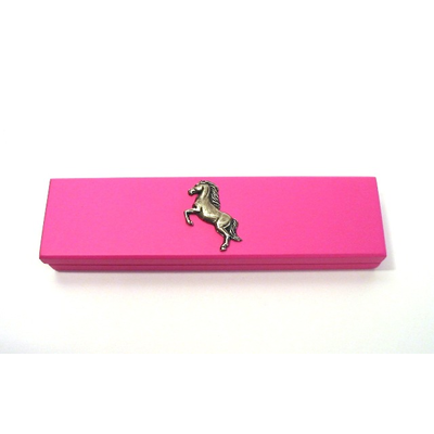 Rearing Horse Motif on Pink Wooden Pen Box with 2 Pens