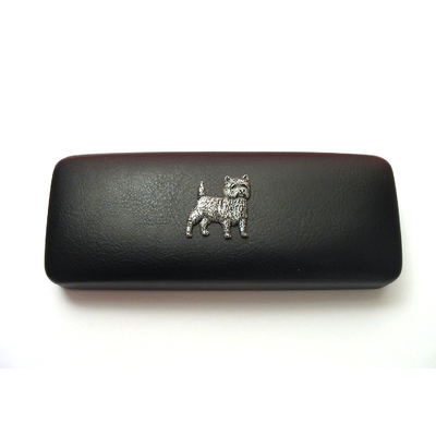 Cairn Terrier Pewter Motif on Black Faux Leather Glasses Case