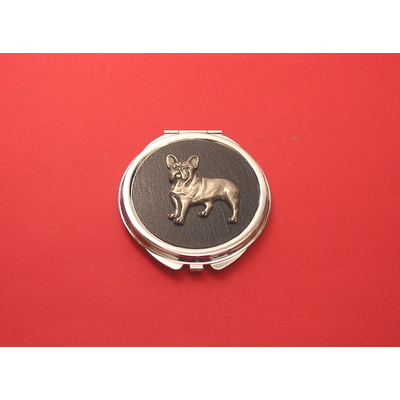 French Bulldog on Black Round Compact Mirror Ladies Useful Gift