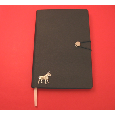 English Bull Terrier A5 Black Journal Notebook Dog Gift