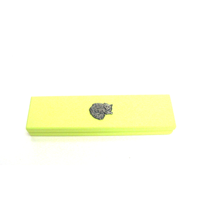 Long Haired Cat Motif on Lime Wooden Pen Box with 2 Pens