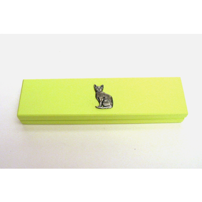 Short Haired Cat Motif on Lime Wooden Pen Box with 2 Pens