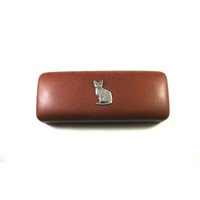 Short Haired Cat Motif on Brown Faux Leather Glasses Case