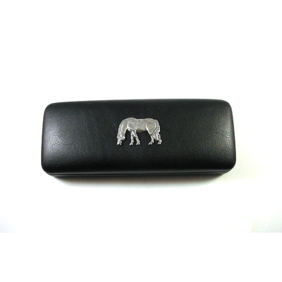Grazing Pony Pewter Motif on Black Faux Leather Glasses Case