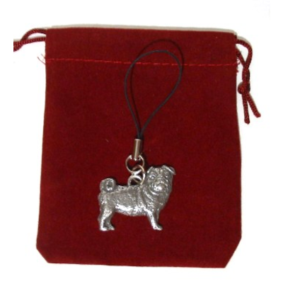 Pug Dog Mobile Phone Charm Pewter Pug Gift